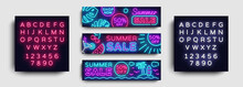 Summer Sale Neon Collection Horizontal Banner Vector. Advertising Banner In Modern Trend Design, Neon Style, Bright Night Advertising Summer Discount, Design Template. Vector. Editing Text Neon Sign