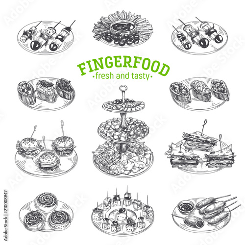 Carta da parati Beautiful vector hand drawn finger food Illustration.