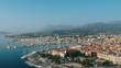 Aerial view of Lefkas harbour. Yacht and sailboats moored at the quay.