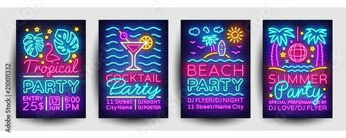 Fényképezés Summer party posters collection neon vector