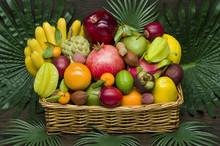 Fresh Thai Fruits In Wicker Ba...