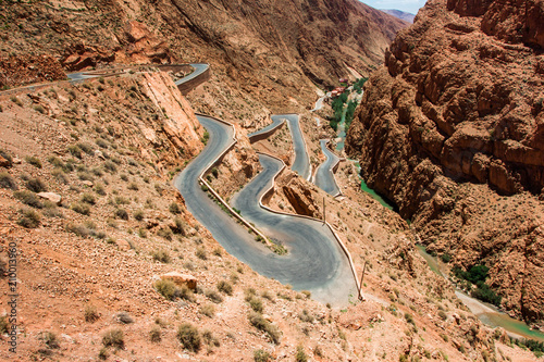 Foto op Aluminium Marokko Serpentine roads in the mountains of Morocco