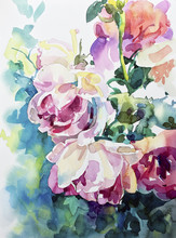 Original Watercolor Painting Of Abstract Roses