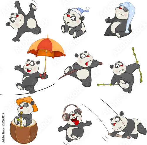 In de dag Babykamer Set of Cartoon Illustration. A Cute Panda Bear for you Design
