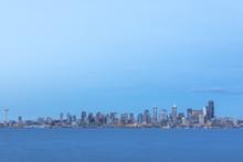 USA, Washington State, Seattle, Skyline At Blue Hour