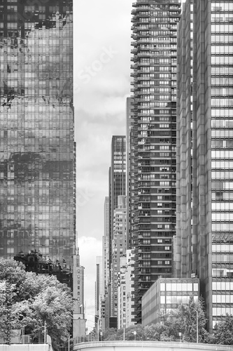 Staande foto New York City Black and white picture of New York City modern architecture, USA.