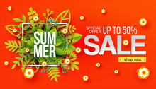 Summer Sale Banner With Paper ...