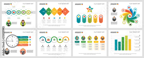 Fototapeta Colorful management or analysis concept infographic charts set. Business design elements for presentation slide templates. For corporate report, advertising, leaflet layout and poster design. obraz