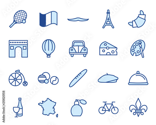 France Vector Icon Set Fotomurales