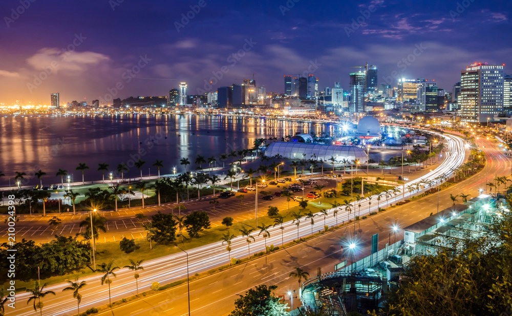 Fototapety, obrazy: Skyline of capital city Luanda, Luanda bay and seaside promenade with highway during afternoon, Angola, Africa