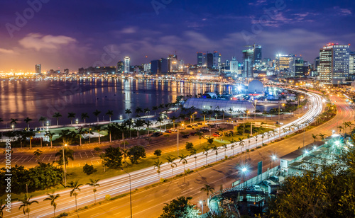 Aluminium Prints Africa Skyline of capital city Luanda, Luanda bay and seaside promenade with highway during afternoon, Angola, Africa