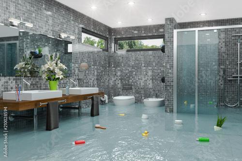 Überschwemmtes Modernes Badezimmer   Bad   Dusche   Wasserschaden   Havarie    Hochwasser