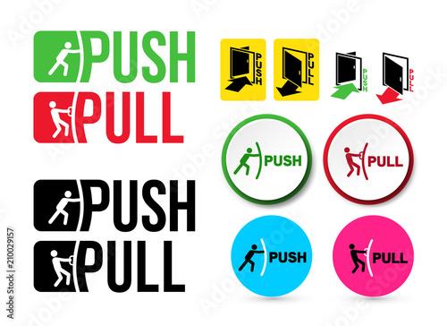 Fotografía  Set of Pull or Push door signs