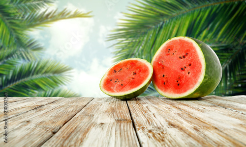 watermelon and white desk