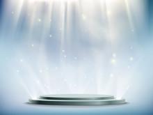 Background Of Round Podium Illuminated By Searchlights.