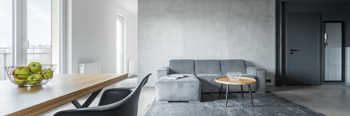 Contemporary apartment with table