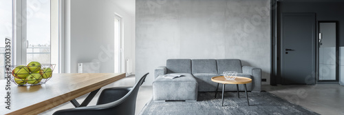 Obraz Contemporary apartment with table - fototapety do salonu