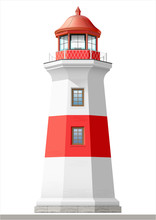 Bright Sea Lighthouse. Old Building. Architecture. Vector Graphics. The Facade Of Red And White