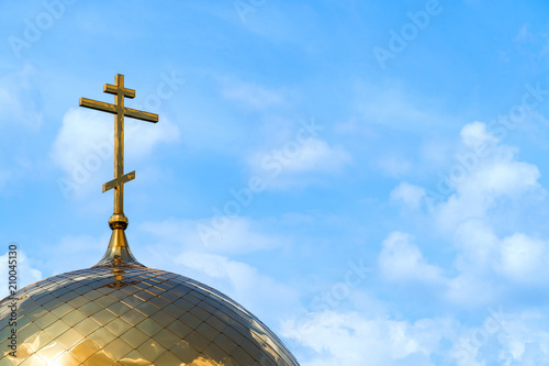 Fotografia Orthodox cross on dome of church
