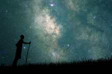 Young Explorer Looking To Star On Sky At Night. Concept Astronaut, Astronomer, Discovery And Space Study