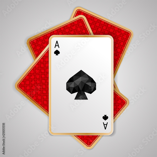one spades ace in four playing cards. Red back side design плакат