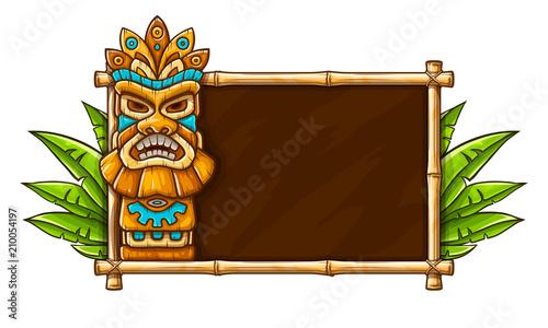 Tradycyjna hawajska maska plemienna Tiki z ludzką twarzą na bambusie