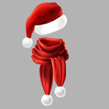 Vector 3d Realistic Silk Red Scarf With White Fur And Santa Claus Headwear, Hat. Celebration Costume With Knitted Fabric Cloth, Alpaca Wool For Winter, New Year. Knitwear Isolated On Grey Background