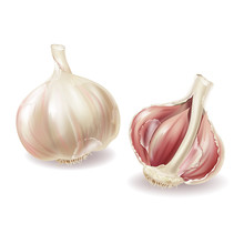 Vector 3d Realistic Garlic Head - Whole Vegetable And Garlic Cloves, Lobules In Shuck, Peelings. Spicy Condiment, Organic Nutrition, Isolated On White Background. Fresh Seasoning Aroma Plant.