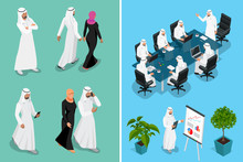 Isometric Businessman Saudi Ar...