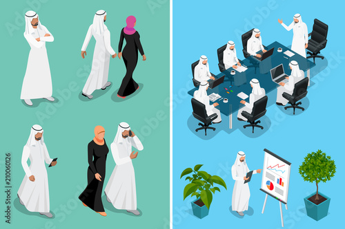 Fotografie, Tablou Isometric businessman Saudi Arab man and woman character design with different poses, car on blue background isolated vector illustration