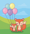 cute foxes with balloons over landscape background, colorful design. vector illustration