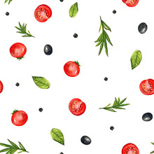Seamless Pattern With Olives, ...