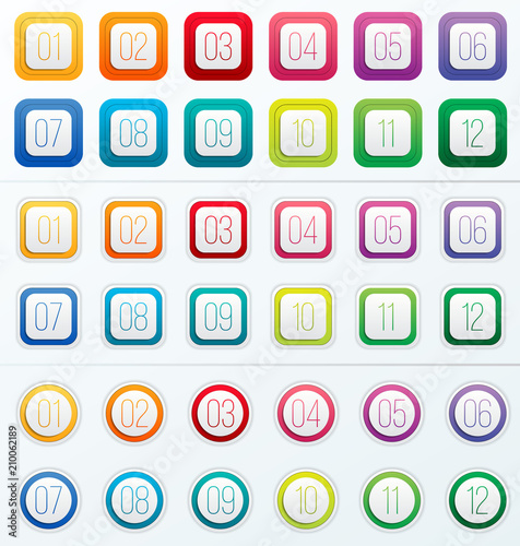 Fototapeta Creative vector illustration of number bullet points set 1 to 12 isolated on transparent background. Art design. Flat color gradient web icons template. Abstract concept graphic element obraz