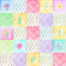 Seamless Pattern With Colorful With Scraps And Flowers. Colorful Painted Watercolor Patchwork Quilt Illustration