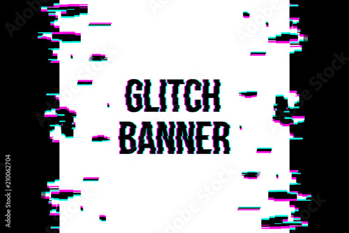 Fototapeta Creative vector illustration of glitch style distorted banner isolated on transparent background