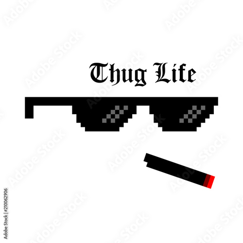 Fotomural  Creative vector illustration of pixel glasses of thug life meme isolated on transparent background
