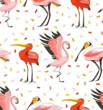 Hand Drawn Vector Abstract Cartoon Summer Time Graphic Illustrations Artistic Seamless Pattern With Exotic Tropical Birds Flamingo,scarlet Ibis,roseate Spoonbill Isolated On White Background