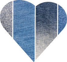 Collag Of Four  Blue Denim Jeans Texture. Collage In The Shape Of A Heart.