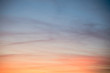 Orange and blue sky at beautiful sunset - Tranquility Concept Background - Travel vacation wallpaper - Meteorology full frame background - Summer weather sky sunset