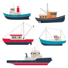 Set Of Different Working Fishing Boats And Tug Boats