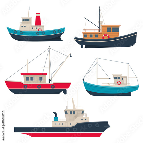 Fotomural Set of different working fishing boats and tug boats