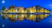Amsterdam City Skyline With Moon, Netherlands