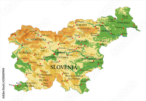 Canvas Print Slovenia physical map