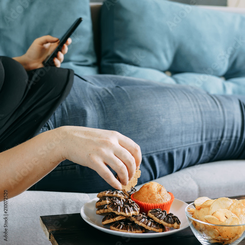 Sugar addiction, unhealthy lifestyle, weight gain, dietary, healthcare and medical concept Wallpaper Mural