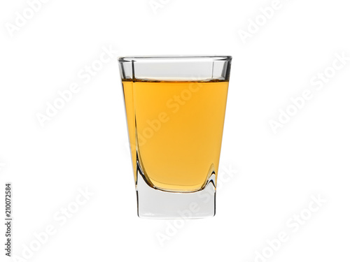 Staande foto Alcohol shot glass of strong alcohol whisky isolated on white bakcground