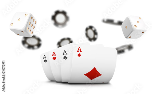 Photo  Playing cards, poker chips and dice fly casino on white background