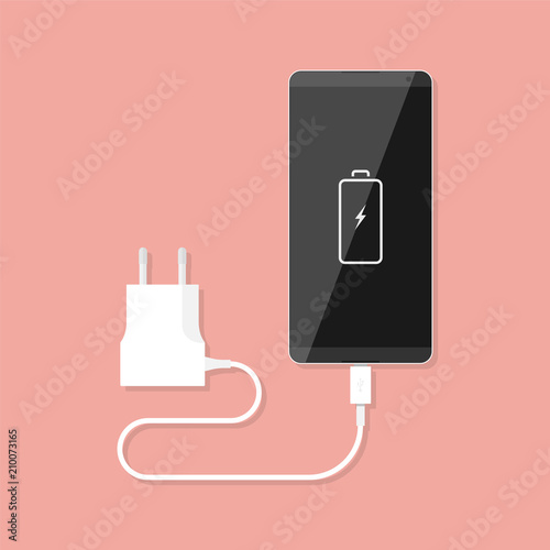 Fotografie, Obraz Smartphone and charger adapter. Vector illustration in flat style