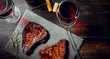 canvas print picture - dinner for two with steaks and red wine
