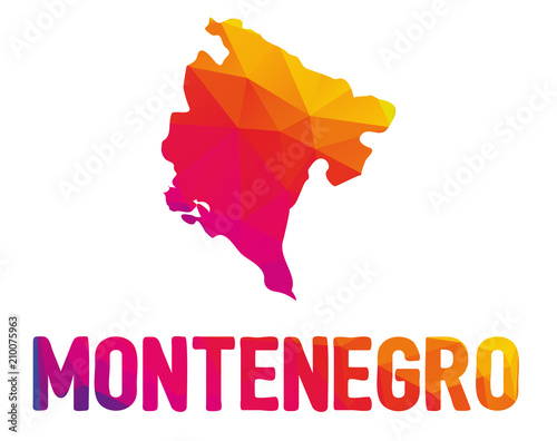 Fotografie, Obraz Low polygonal map of Montenegro (Montenegrin) with sign Montenegro, both in warm