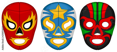 Obraz na plátně  Vector illustration of three luchador (lucha libre, Mexican wrestling) masks